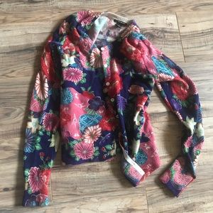 Lucky Brand vintage colorful floral cardigan